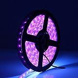 CREATESTAR LED UV Black Light Strip, Flexible 16.4Ft/5M 2835 SMD 300LEDs Waterproof IP65 60 Watts LED Light Strip with DC12V 3A Power Supply