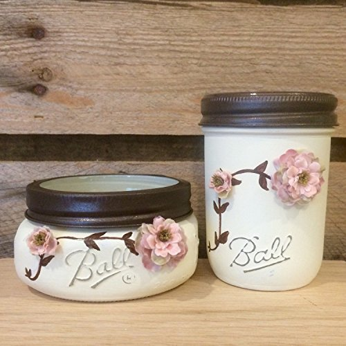 Shabby-Chic-Ivory-and-Rose-Vintage-Mason-Jar-Bathroom-Set-or-Office-Desk-Organizer
