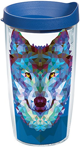 (Tervis 1222794 Wolf Trend Tumbler with Wrap and Blue Lid 16oz, Clear)