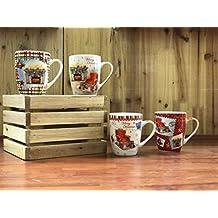 All For You X972 Christmas New Bone China Mug with Christmas Gift Prints-Set of 4, 12 Oz, Gift Box (X972)