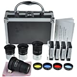 Gosky Astronomical Telescope Accessory Kit - With Telescope Plossl Eyepieces Set, Filter Set, 2x Barlow Lens