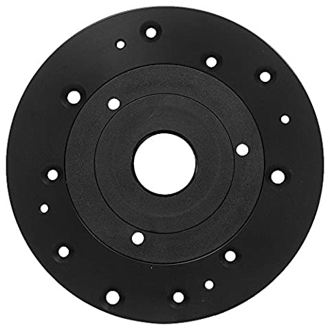 Aluminum Universal Router Plate with Replacement Screws and Plastic Insert Rings (Bosch Router Insert)