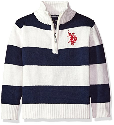 U.S. Polo Assn. Little Boys' 1/4 Zip Striped Sweater, Winter White, 5/6
