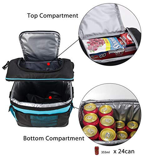 e82b4a5de206 MIER 2 Compartment Cooler Bag Tote Large Insulated Lunch Bag for Picnic,  Grocery, Kayak, Car, Travel, Blue