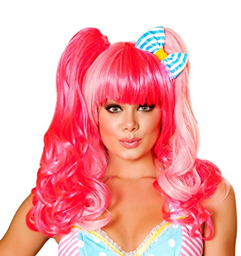 Costumes Sexy Pink Pony (Sexy Women's Pink Two Tone Lollipop Wig w/ Ponytails Costume)