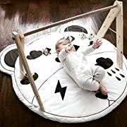 HILTOW Kids Rug Baby Nursery Mat Child Game Round Carpet Cartoon Animal Design Bear