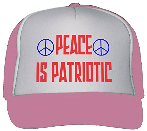 T-ShirtFrenzy Peace is Patriotic Trucker Hat Cap Pink (Foam Visors Patriotic)