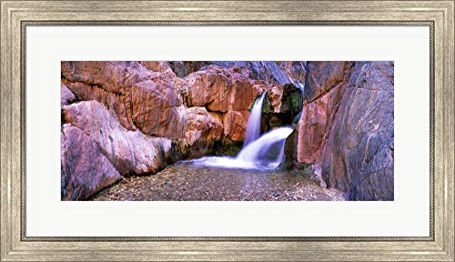 Grand Canyon Waterfall, Arizona by Panoramic Images Framed Art Print Wall Picture, Silver Scoop Frame, 32 x 18 inches (Grande Waterfall Glass Clear)