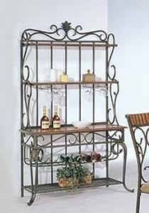 Amazon Com Acme Baker S Rack With Wine Storage Bronze
