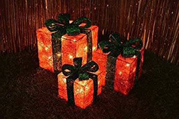 garden mile® 3x LED Battery Powered Light Up Sparkle Gift Boxes Christmas Parcel Present Novelty Fairy Lights. (Champagne)