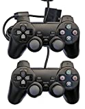 Saloke 2 Packs Wired Gaming Controllers for Ps2 Double Shock (Black and Black)
