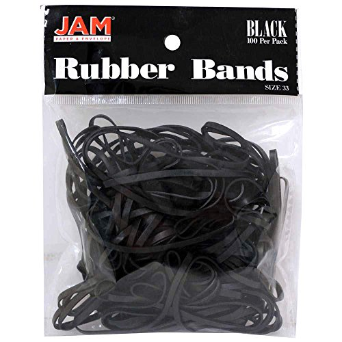 JAM PAPER Colorful Rubber Bands - Size 33 - Black Rubberbands - 100/Pack by JAM Paper