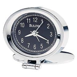 Bulova B6842 Adamo Chrome Finish Travel Alarm Clock