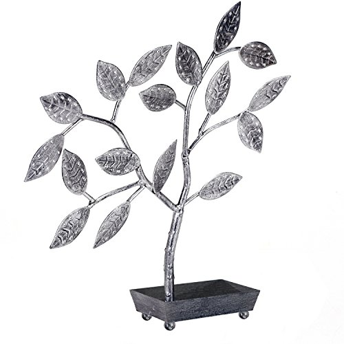 MyGift Tree Design Jewelry Hanger, Earring Necklace Holder with Ring Dish Tray, Silver by MyGift (Image #3)