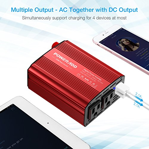Poweradd 300W Car Power Inverter DC 12V to AC 110V Converter with Dual 3.1A Dual USB Ports for Smartphones, Tablet, Laptop, Breast pump, Nebulizer and More - Red by Poweradd (Image #2)