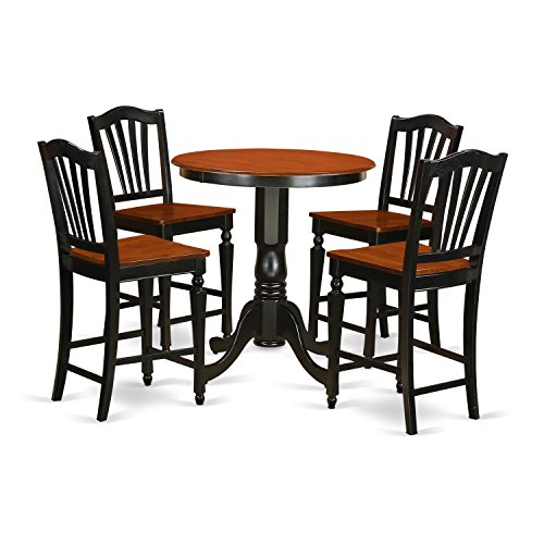 East West Furniture EDCH5-BLK-W 5 Piece Pub Table and 4 Bar Stools Set