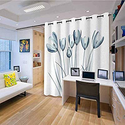 HouseLook - Cortina de Puerta corredera para Patio, diseño de Flores, diseño Moderno, Color Verde Azulado y Blanco: Amazon.es: Hogar