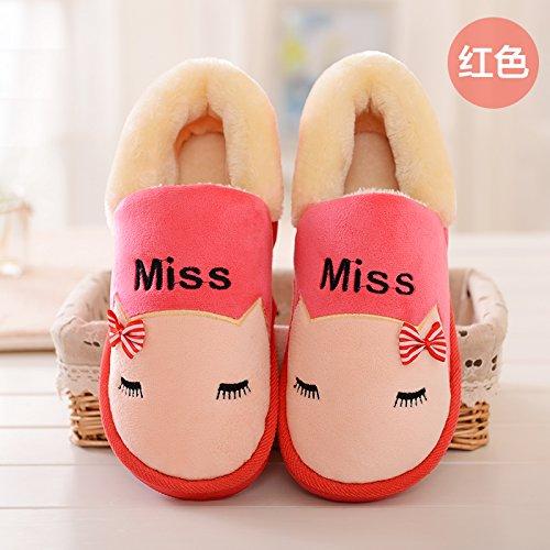 Y-Hui el interior de invierno zapatos zapatillas Bolsa de algodón con par de deslizamiento inferior grueso cálido invierno zapatos de hombre,36-37 (apto para 35-36 pies),Gules