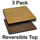 Flash Furniture 3 Pk. 24'' Square Table Top with Natural or Walnut Reversible Laminate Top