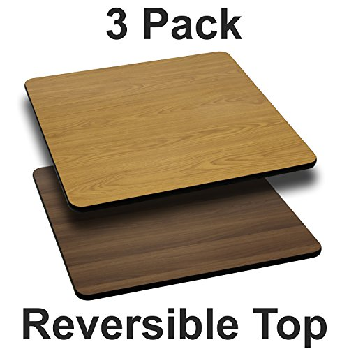 Flash Furniture 3 Pk. 24'' Square Table Top with Natural or Walnut Reversible Laminate Top by Flash Furniture