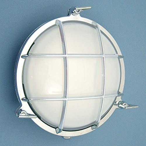 Round Cage Light Solid Brass, Interior Exterior by Shiplights Polished Chrome