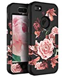 5s cute protective cases - RabeMall Case for iPhone 5,Case for iPhone 5S,Case for iPhone SE Pretty Flowers for Girls/Women Anti-Fingerprint Scratch-Resistant Three Layer Shock Resistant Protective Cover,Floral Black