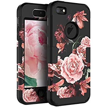 low priced 50d00 b1a37 RabeMall Case for iPhone 5,Case for iPhone 5S,Case for iPhone SE Pretty  Flowers for Girls/Women Anti-Fingerprint Scratch-Resistant Three Layer  Shock ...
