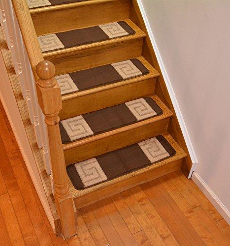 Millenium Stair Tread Treads Greek Key Design Indoor Skid Slip Resistant Carpet Stair Tread Treads Greek Key Design Machine Washable 8 ½ inch x 30 inch (Set of 7, Meander Brown)
