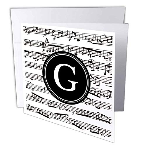 3dRose InspirationzStore - Monograms - Musical Letter G Black and White Music Monogram Circle Initial G - 6 Greeting Cards with envelopes (gc_316382_1)