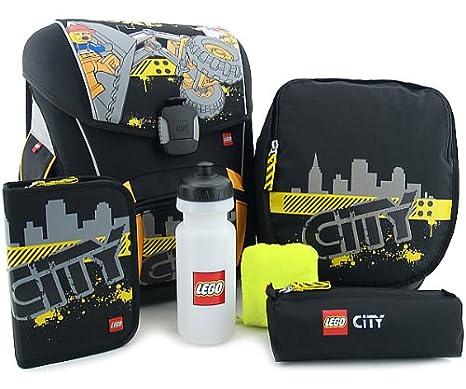 LEGO Supreme - Juego de mochila escolar y accesorios (5 piezas), diseño de construcción City: Amazon.es: Juguetes y juegos