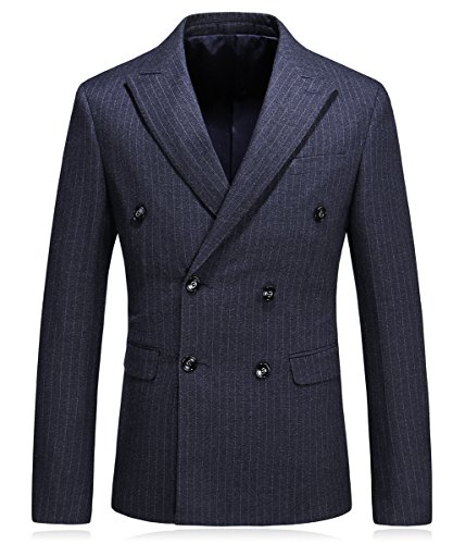 MOGU Mens Double breasted Pinstripe 3 Piece Suit Slim Fit Blazer Jacket & Trousers & Waistcoat