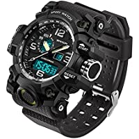 SANDA Men's Digital Watch Large Face LED Wrist Watches Military Sports Electronic Quartz Outdoor Stopwatch Alarm Army Watch