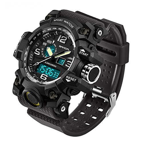 2016 New Brand SANDA Fashion Watch Men G Style Waterproof Sports Military Watches Shock Men's Luxury Analog Quartz Digital Watch (Black) ()