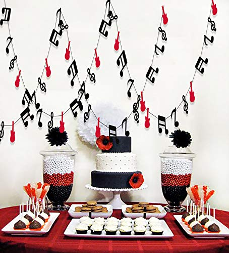 (Furuix Music Note Garland G Clef Garland, Red Black Music Party Banner, Music Theme Party Decorations, Music Birthday, Rock Star BirthdayRock and Roll Party, Music Theme Party)