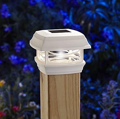 Moonrays 91254 Solar LED Post Cap Light, Fits Standard 4-inch x 4-inch Wooden Posts, Plastic, WHITE