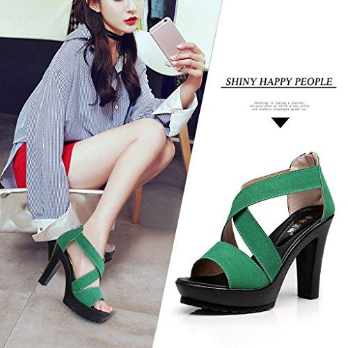 épais 39 taille mode Couleur croix Deep avec talons female chaussures shoes khaki Shoes des sangle à Vert coréenne sauvage Single sandales long245mm de hauts wPREqq