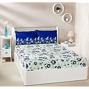 Amazon Brand – Solimo Jasmine Zest 144 TC 100% Cotton Double Bedsheet with 2 Pillow Covers, Blue
