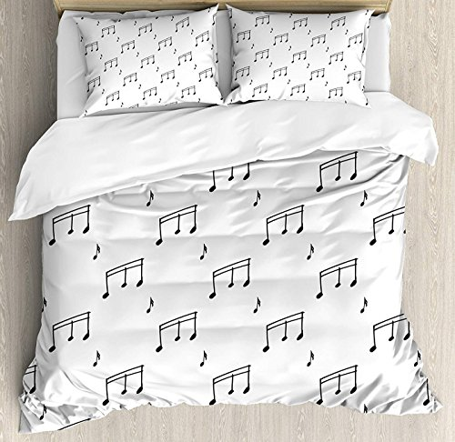 Music Bedding Set Twin Size, Musical Notes Theme Melody Sonata Singing Song Clef Tunes Hand Drawn Style Pattern,Comforter Cover Sets for All Season, Charcoal ()