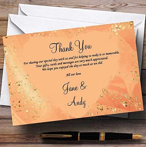 Peach Gold Pretty Personalized Wedding Thank You Cards