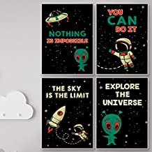 Retro Space Posters For Kids Wall Room Decor. The Sky is The Limit Motivational Wall Art for Children, Set of FOUR, 11 X 17 Aliens on Earth Posters for Star Wars Themed Nursery and Boy / Girl Bedroom