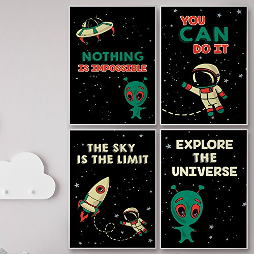 Retro Space Posters For Kids Wall Room Decor. The Sky is The Limit Motivational