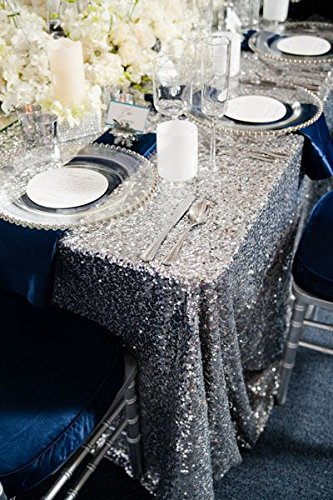 Vintage Overlay Silver (ShinyBeauty-Sequin Tablecloth-Silver-90x132 Inch, gorgeous and luxury Overlay vintage Rectangle Tablecover for Home or Event Decoration (Silver))
