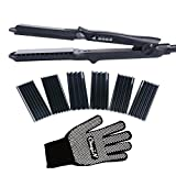 inkint Hair Crimper Crimping Iron Ceramic Hair Waver Straightening Iron-4 Pairs Interchangeable Plates with 4 Setting Temperature for Dry and Oily Hair 100-240 Dual Voltage