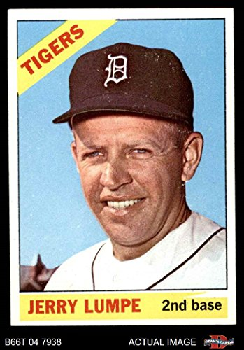 Wdg Base (1966 Topps # 161 WDG Jerry Lumpe Detroit Tigers (Baseball Card) (White wedge in yellow over 2nd Base) Dean's Cards 5 - EX Tigers)