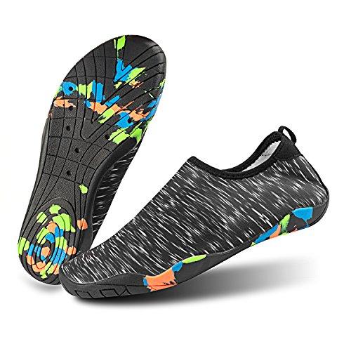 Shinmax Aqua Water Shoes, Uomo Donna A Piedi Nudi Quick Dry Calze Leggere Flessibili Per Spiaggia, Nuoto, Lago, Canottaggio, Parco, Passeggiate, Yoga, Guida Nero