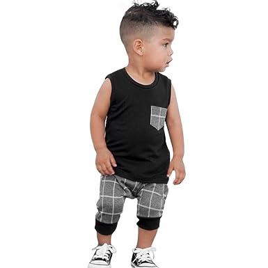 9d0df2f5e58d3 Dinlong Infant Baby Boys Summer Casual Clothes Set Plaid Pocket Vest Tops  +Shorts (0