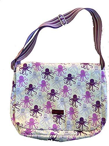 Bungalow360 Canvas Large Flap Messenger Bag - Octopus