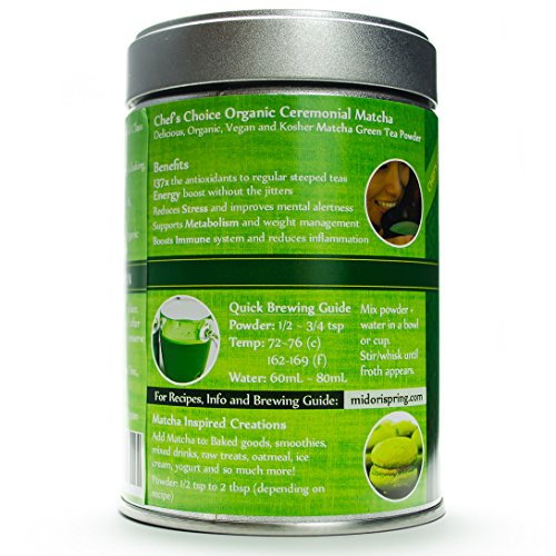 Organic Ceremonial Matcha - Emerald Class - Chef's Choice Quality Japanese Matcha Powder, Kosher, USDA (100g) by Midori Spring (Image #2)