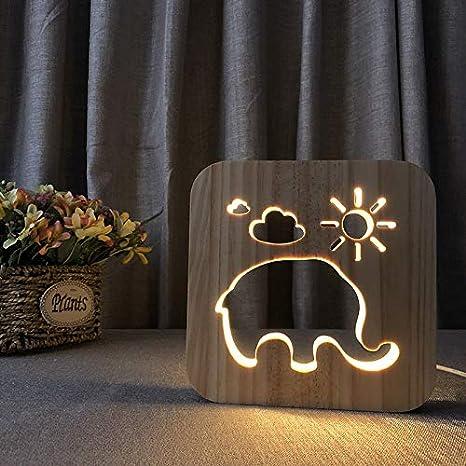 Luz nocturna 3D Luz de noche de elefante Manualidades de ...