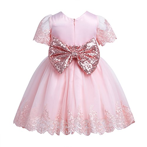 TiaoBug Baby Princess Bowknot Wedding Pageant Communion Baptism Party Flower Girl Dress (9-12 Months, Pink(Sequined))